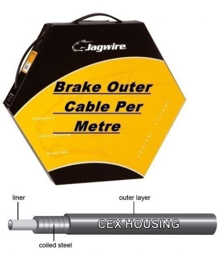 Jagwire Bike Brake Outer Cable Low-Friction Polymer Lined Black 5mm Diameter